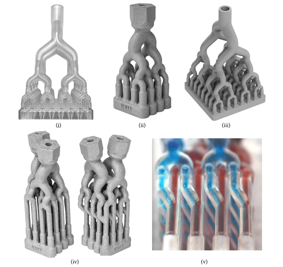 Flow distributor and mixer designs optimised through metal Additive Manufacturing